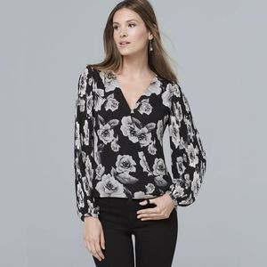 White House Black Market Floral Pleat Sleeve Top